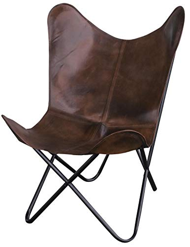 Natural Leather Butterfly Chair in Brown (Leather Butterfly Chair Sling)