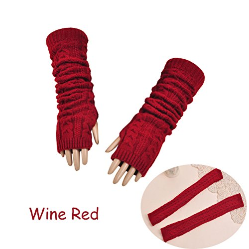 Womens Crochet Knit Fingerless Arm Warmers With Thumb Hole Super Long Winter Cold Weather Gloves Mittens (Wine Red)
