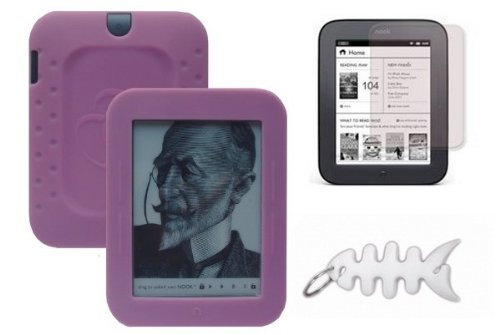 pink-silicone-skin-cover-lcd-screen-protector-fishbone-style-keychain-for-barnes-noble-nook-simple-t