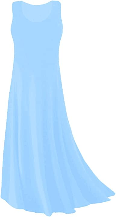 Plus Size Tank Maxi Dress Light Blue Princess Cut Supersize Slinky