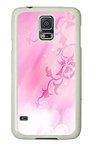 Samsung Galaxy S5 durable cover Flower Pink PC White Custom Samsung Galaxy S5 Case Cover