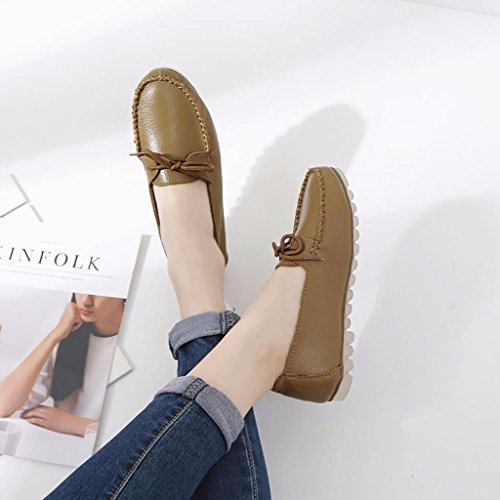 Toe Khaki Flats Leather Shoes Lace Women's Moonwalker Up Moc 8HYZOnq7