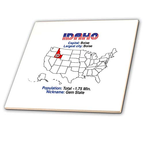 3dRose Alexis Design - American States - Idaho State of The USA, American map, Facts, Useful Details - 12 Inch Ceramic Tile (ct_308186_4) ()
