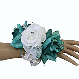 Angel Isabella Wrist Corsage-keepsake artificial roses hydrangea large wrist flower flower prom dance graduation events (Jade/Teal White) 79