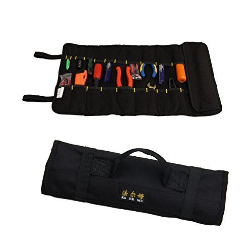 Tool Roll Pouch Wrench Roll 22 pockets Black