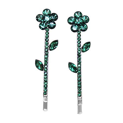 Faship Gorgeous A Pair Of Green Rhinestone Crystal Floral Hair Clips 2 Pcs