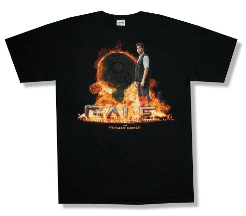 """Adult The Hunger Games """"Gale In Fire"""" Black T-Shirt (X-Large)"""
