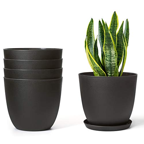 Mkono 6.5″ Plastic Planters with Saucers, Indoor Set of 5 Flower Plant Pots Modern Decorative Gardening Pot with Drainage for All House Plants, Herbs, Foliage Plant, and Seeding Nursery, Black