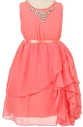 Long Charmeuse Bodice Dress (Little Girls Round Neck Chiffon Necklace Ruffle Flowers Girls Dresses Coral 6 (K20K77))