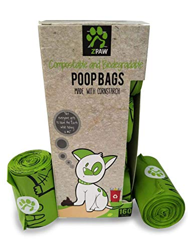 Bio Bag Biodegradable Compostable - ZPAW Compostable and Biodegradable Dog Poop Bags Made with Corn Starch | Large Environmentally Friendly Dog Waste Bags Certified 100% Compostable and Biodegradable (160 Pet Waste Bags)