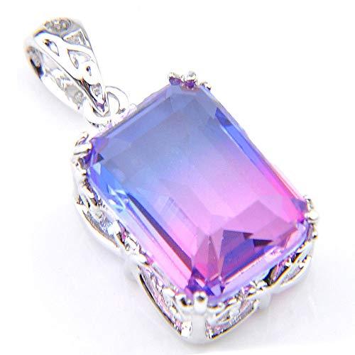 (FidgetFidget Square Gemstone Blue to Purple Bi Color Tourmaline Women Silver Necklace Pendant)