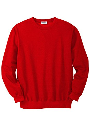 KingSize Men's Big & Tall Fleece Crewneck Sweatshirt, Red Apple Big-3Xl Big And Tall Fleece Sweatshirt