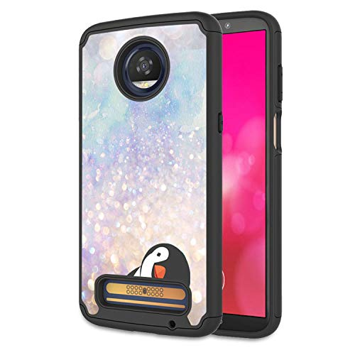 Moto Z4 Case, Moto Z4 Play Case, Rossy Heavy Duty Hybrid TPU Plastic Dual Layer Armor Defender Protection Case Cover for Motorola Moto Z4 Play 6.22 Inch 2019,Black Crooked Neck Penguin