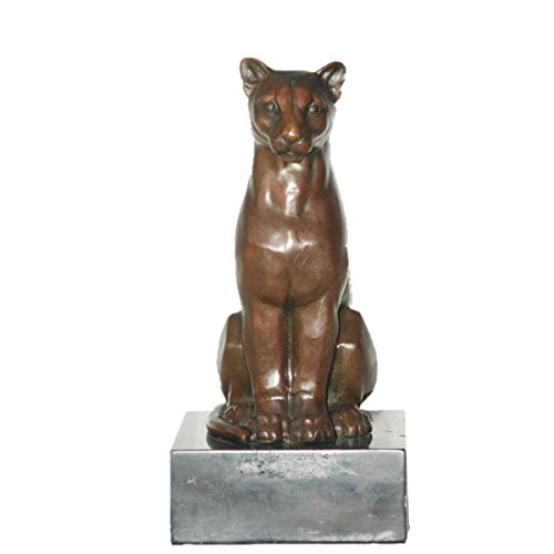 Toperkin Bronze Statues Animal Sculptures African Lioness Desk Decor Marble Base Collection TPAL-348