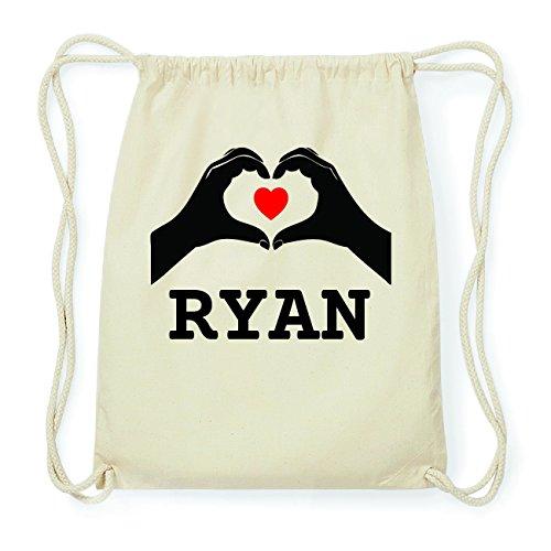 JOllify RYAN Hipster Turnbeutel Tasche Rucksack aus Baumwolle - Farbe: natur Design: Hände Herz