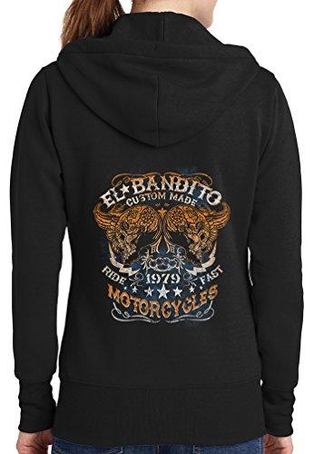Womens El Bandito Full Zip Hoodie, Black, 3X