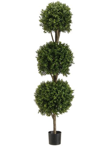 5' Triple Ball-Shaped Boxwood Topiary in Plastic Pot Two Tone Green by Silk Decor