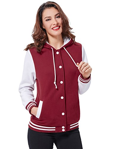 Color Kate Hooded Baseball kk481 Kasin Womens Coat Contrast KK481 Long Sleeves Tops Classic Fit 2 ZnZrgp0q7