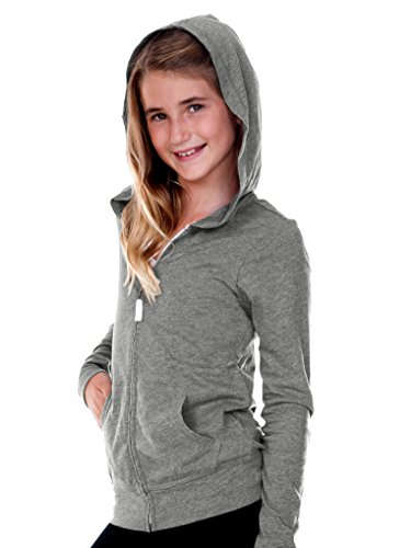 Front Only Kids Sweatshirts - Kavio! Big Girls 7-16 Jersey Long Sleeve Zip Up Hoodie Dark Heather Gray S