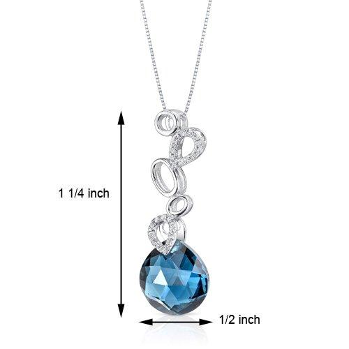Revoni 14ct or blanc 585/1000 Double Sided forme de poire 6.64 carats Londres topaze bleue Pendentif diamant