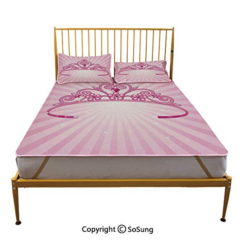 Kids Creative Queen Size Summer Cool Mat,Beautiful Pink Fairy Princess Costume Print Crown with Diamond Image Art Decorative Sleeping & Play Cool Mat, -