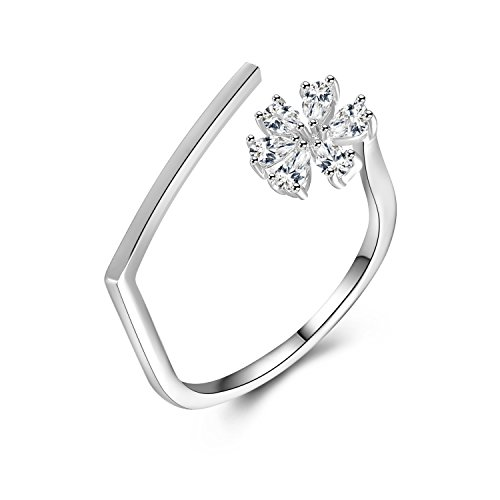 Zhenhui Fashion Womens Plated CZ Crystal Paved Flower Ring Anniversary Wedding Stackable Contour Band Opening Guard Rings (platinum-plated)