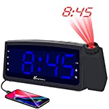 Vansky Projection Alarm Clock Radio with USB Charger, Digital Projection Clock for Bedrooms, FM Radio, 6.57'' LED Display with Dimmer, Dual Alarm, Snooze, Battery Backup