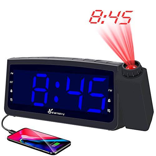 Vansky Projection Alarm Clock Radio with USB Charger, Digita