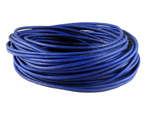 (cords craft 2.0mm Genuine Round Leather Cord Leather String Matte Finish for Jewelry Making Bracelet Necklace Beading, 10 Meters / 10.93 Yards, Natural Dye (Natural Blue))