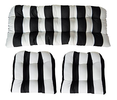 RSH Decor 3 Piece Wicker Cushion Set - Indoor/Outdoor Wicker Loveseat Settee & 2 Matching Chair Cushions - Sunbrella Cabana Classic Black and White Stripe (0100)