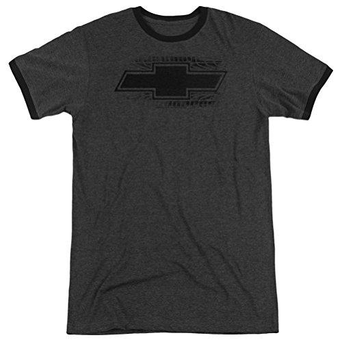 Emblem Ringer T-shirt - Chevy Chevrolet Bowtie Tire Tread Ringer Shirt, Charcoal, Medium