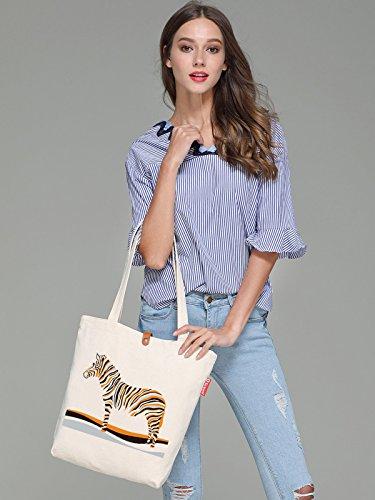 So'each Women's Cute Zebra Animal Graphic Top Handle Canvas Tote Shopping Bag