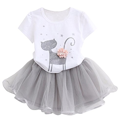 Avidqueen Adorable Toddler Baby Girls Clothes Set Long Sleeve T-Shirt and Pants Outfit Fall Clothes (Age(6T), Cat 2/White)