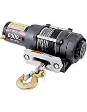 Towing ATV/UTV Off Road Traile Truck Wrangler Electric Winch with 6000LBS 12V Synthetic Rope with Both Wireless Handheld Remote and Corded Control Recovery
