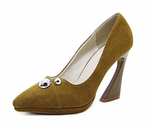 Femmes Chaussures Automne Escarpins Britannique 2017 En Nouvelle Daim 9 Jaune Le Plateforme Cm Pointu Ol 7PwxftqA