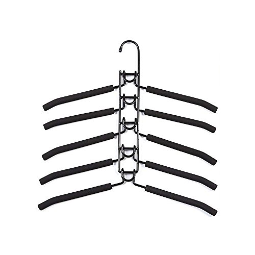 YOUDirect Clothes Hangers - Multilayer Detachable Non-slip Clothes Rack for Adult Metal Rust-free Wardrobe Storage Rack Space-saving (Adult-Black.)