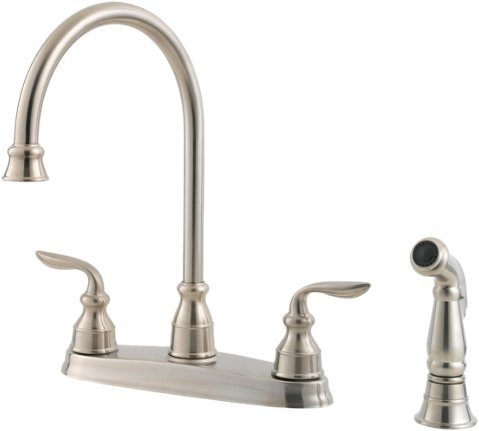 alon 2-Handle High Arc Kitchen Faucet with Side Spray, Stainless Steel ()