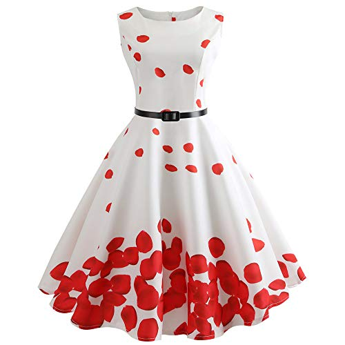 RoDeke Women's 1950S Vintage Classy Floral Sleeveless Party Picnic Party Cocktail Dress with Belt White