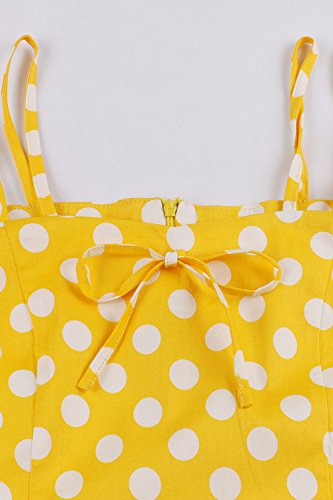 1950 Rockabilly anne Robe Vintage Chic up Swing rtro Soire Hepburn Femme 3 Audrey Babyonlinedress Jaune Bretelles pin 7wYq00
