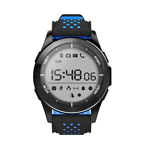 Outdoor Sport Watch Bluetooth Waterproof F3 Professional Waterproof Bluetooth Sport Smartwatch with Android and iOS Smartphones (Black Blue)