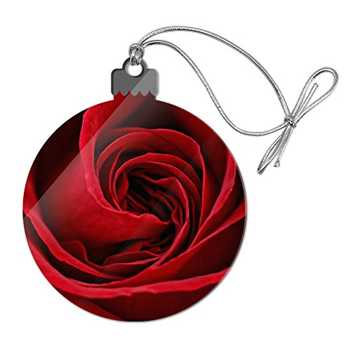 Red Rose Close-up Acrylic Christmas Tree Holiday Ornament ()