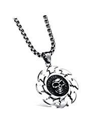 OBSEDE Flame Wheels Stainless Steel Necklace Classic Skull Pendant Necklace With Wide Keel Chain