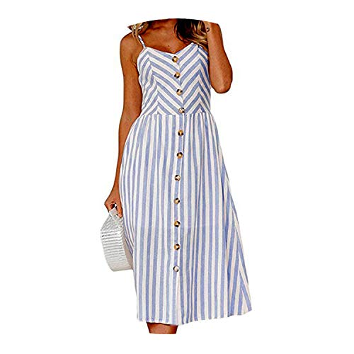 Women Summer Dress Boho Sexy Dress Midi Button Backless Polka Dot Striped Beach Dress,0895-blue,XXXL -
