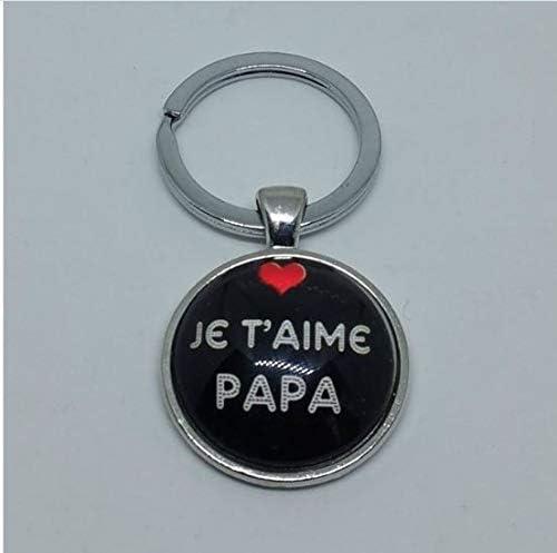 bijouxmodefashion Porte-cl/és d/écapsuleur cabochon Je taime Papa Coeur Rouge.
