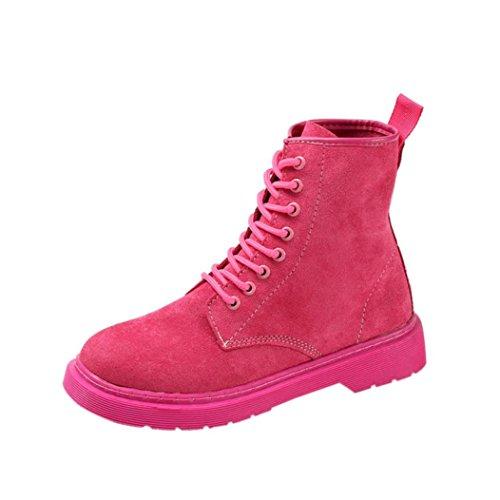 Gillberry Støvler Høst Vinter Flat Hæl Støvler Blonder-up Boots Kvinners Sko Hot Pink