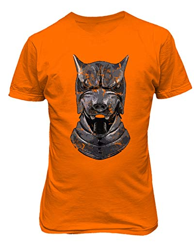Orange Hounds (TMB Apparel New Novelty Shirt of Thrones Shirt Distressed Hounds Helm Men's T-Shirt (Orange, XXXX-Large))