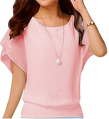(Hount Womens Elegant Chiffon Blouse 3/4 Sleeve Round Neck Casual Summer Loose Top Shirt (Large, Pink) )