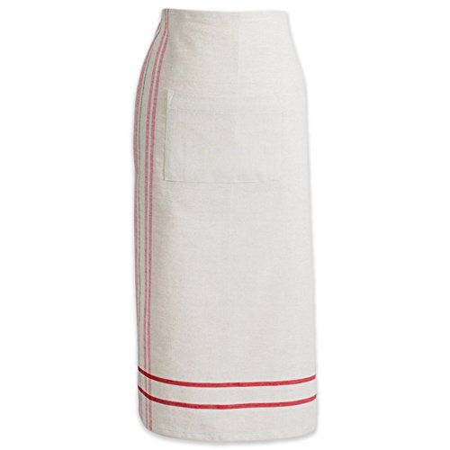 (DII Cotton French Stripe Bistro Half Waist Apron with Pocket and Extra Long Ties, 30 x 28