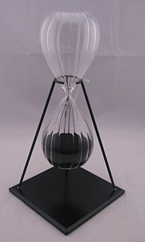 G.W. Schleidt ATD60-B Twisted Glass Black Sand Timer with Stand ()