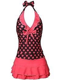 Womens Polka Dot Halter Push up Slim Tankini Padded Swimsuit